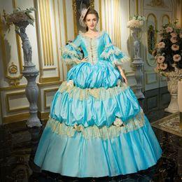 Wholesale century length - Brand New 2016 aqua blue Lace Dance 18th Century Queen Victorian Marie Antoinette dress