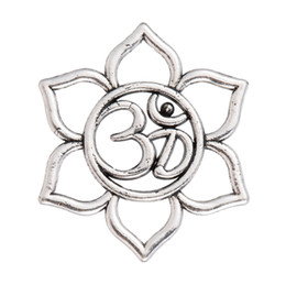 Wholesale Meditation Women - 20pcs lot Antique Silver plated blooming flower Yoga OM Pendant Necklace Meditation Om Symbol Necklaces for Women gift Jewelry