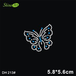 Wholesale Wholesale Applique Transfers - Free shipping Lovely butterfly design hot fix rhinestones,heat transfer motif,applique for garment embellishment DIY DH213#