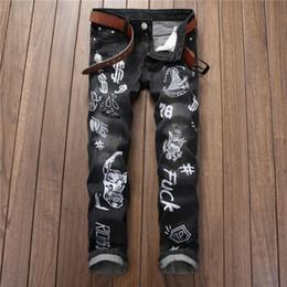 Wholesale Preppy Mens Clothes - Wholesale-2016 Vintage Printed Jeans Men High Quality Fashion Denim Overalls Mens Straight Elastic Biker Jeans Brand Clothing Plus Size
