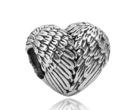 Wholesale Sterling Feather Necklaces - Fits Pandora Bracelets 30pcs Heart Feather Wing Silver Charm Bead Loose Beads For Wholesale Diy European Sterling Necklace Jewelry Xmas