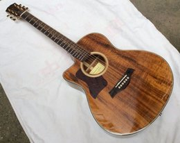 Wholesale Acoustic Left - New Left Handed 41-inch folk acoustic electric guitar K24CE, Acacia xylophone body In Natural wooden 150706-1025