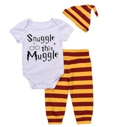 "Wholesale Three Years Girls Clothes - INS ""Snuggle this Muggle"" 3PCS Bodysuit+Stripe Pants+Hat Outfits Clothes Sets 0-18M New Year Baby Clothing Set Newborn Baby Boys Girls"