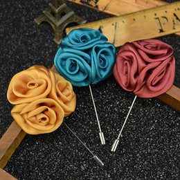 Wholesale Pins Suit - Rose Brooch Handmade Boutonniere Stick Brooch Pin Accessories for Men Women Suit Men Lapel Pin Brooches