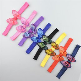 Wholesale Animal Print Grosgrain Ribbon - Multicolor Girls elastic butterfly headband kid butterfly printing Grosgrain Ribbon bow hair band children hair accessory