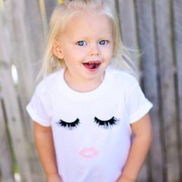 Wholesale Toddler Girl White T Shirt - Children Kids Cotton T-shirts Shirts For Girls Summer White Eyelashes Style Short Sleeve Shirts Tops Tees Toddlers Princess Shirts Clothiing