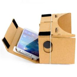 Wholesale Virtual Video Goggles Glasses - Google Cardboard Cardbord Lnette Video 3 D Gerceklik Virtual Reality Goggles 3D VR Glasses Smartphone Helmet Headset Lens VR Box