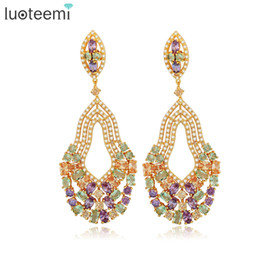 Wholesale Exaggerated Female - LUOTEEMI New European and American Retro Style Multi Water Drop Earrings Exaggerated Female Long Large Brincos for Women Wedding