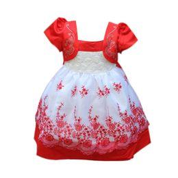 Wholesale Korean Lace Formal Dress - Wholesale- 2016 Korean girls dress girl Dress Girls Toddler 3D Flower Tutu Layered Princess Party Bow Kids Formal Dress 781