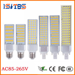 Wholesale G24 18w Lamp - DHL E27 E14 G24 G23 SMD5050 LED corn bulb Horizontal Plug Led light lamp 10W 14W 18W 22W 24W 26W 180degree 85-265V 20