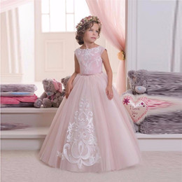 Wholesale Cheap Tanks For Girls - Hot Pretty Pink Lace Flower Girls Dresses For Weddings And Party Ball Gown Tulle Appliques Tank Cheap Girls Long First Communion Dress