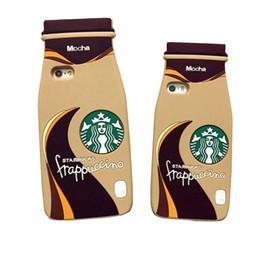 Wholesale Apples Coffee - 3D Cartoon Starbuck Mocha Milky Tea Bottle Silicone Cover For iPhone 7 Plus 6S Plus 5S SE Coffee Bottle Phone Case