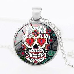 Wholesale Skull Necklace Men - Wholesale Fashion Glass Dome Jewelry - Skull Necklace Sugar Skull Necklace Pendants Women Men glass statement necklace