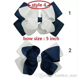 Wholesale Grosgrain Cotton - 4 style available 30pcs Baby Grosgrain Ribbon Hair Bow Solid Hair Accessories For Children Handmade Boutique Hair bow Hairclip For Kids