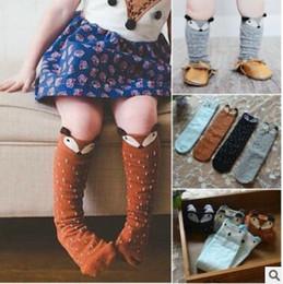 Wholesale Infant Boys Knee High Socks - Fox Baby Socks 3D Animal Knee High Stocking Lovely Infant Toddler Cartoon Cotton Socks Boys Girls Cute Knee High Leggings Warm Socks J434