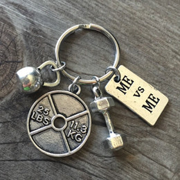 Wholesale Dumbbells Hands - Vintage Metal Dumbbells Keychains Top Quality Mixed Leaf Barbell Hand Pendant Leather Key Chain Men Women Keyring 9 Styles