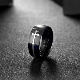 Wholesale ring cross black - Mens Cubic Zirconia Stainless Steel Ring Vintage Cross Men's Rock Punk Rings 2017 Fashion Figure Ring Black US Size 7 to 10