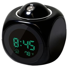 Wholesale Lcd Clocks - Multi-function Digital LCD Voice Talking LED Projection Alarm Clock Black and White