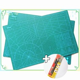 Wholesale Quilting Cutting Mats - Wholesale-PVC Cutting Mat 9 Sea a3 45*30cm & Graver Utility Knife With 12Pcs Spare Blade Durable Self Healing Handmade Quilting Patchwork