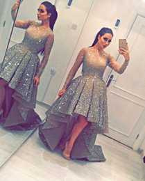 Wholesale Trumpet High Low Dresses - 2017 Sexy Scoop Neck Long Sleeve Beaded Prom Dresses Hi-Low Party Dresses Vestidos De Homecoming Sweet 16 Dresses Custom Made