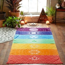 Wholesale Summer Rainbow - Bohemia Wall Hanging India Mandala Blanket 7 Chakra Colored Tapestry Rainbow Stripes Travel Summer Boho Beach Towel Yoga Mats 150X75CM