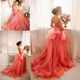 Wholesale White Prom Dress Red Belt - Sweetheart Pink Prom Dresses Ball Gown Ruffles Lace Up Back Elegant Evening Party Gowns Arabic Beading Belt Evening Dresses