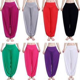 Wholesale Harem Capri Woman Pants - Women Yoga Sport Pants Loose Bloomers Dance Pants Fitness Dancewear Joggers Capri Harem Trousers Soft Modal Pleated Sweatpant 100pcs OOA1413