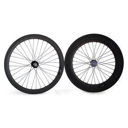 Wholesale Fixed Gear Single - 700c Carbon track wheels fixed gear carbon wheels 23mm width single speed carbon wheels fixie whels