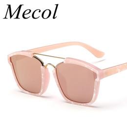 Wholesale Green Shell Mirror - Wholesale-Mecol 2016 New Arrival Rose Gold Tortoise Shell Mirror Sunglasses Oversized Women Brand Designer Sports Gafas De Sol R008