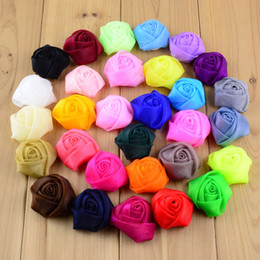 Wholesale Wholesale Rosette Tops - free shipping 50pcs lot ribbon satin rosettes top quality 30 colors Clothing Accessories Classic 3D Rose Bud Headdress Flower Corsage H0181