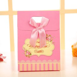 Wholesale Pink Treat Bags - 25pcs Pink bowknot Tie Birthday Boy Baby Shower Favor Candy Treat Bag Wedding Favors Candy Box Gift Bag