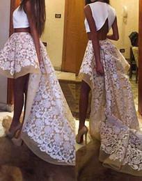 Seksi Beyaz Şampanya Dantel Aplike İki Adet Balo Ünlü Elbiseleri 2018 Ucuz Yüksek Düşük Fırfırlı Akşam Parti Elbise Uzun Elbisesi nereden