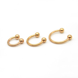 Wholesale Wholesale Septum Rings - Rose Gold Horseshoes Ring Labret Lip Rings With Ball Circular Barbell Nose Hoops Septum Piercing 316L Stainless Steel Earrings