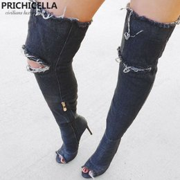 Wholesale Blue Jeans Heels - women chic sexy open toe high heel denim thigh high boots blue jeans elastic over the knee boots