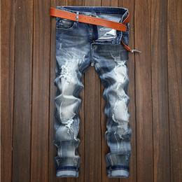 Wholesale High Quality Denim Jeans - 2017 men Button Jeans Men Denim Blue Ripped Jeans Trousers 28-38 High Quality Cotton Mens Brand Jeans