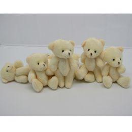 Wholesale Stuffed 12cm Teddy Bears - Wholesale-60PCS LOT Kawaii Small Joint Teddy Bears Stuffed Plush 12CM Toy Teddy-Bear Mini Bear Ted Bears Plush Toys Wedding Gifts 020