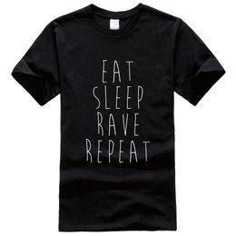 Wholesale Women Sleep Shorts - Eat Sleep Rave Repeat Printed Printed Tee Shirt Unisex Fashion Women Men Short Sleeve Cool Funny Shirt More Size And Colors