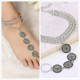 Wholesale Casual Sandles - Bohemian Womens Vintage Silver 3 Layered Tassel Engraved Coin W Toe Chain Rings Anklets Boho Anklet Bracelet Barefoot Sandles