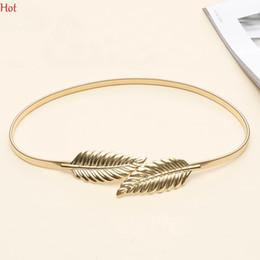 Wholesale Elastic Belting - Hot Women Belt Leaf Design Clasp Front Stretch Alloy Metal Waist Belt Skinny Elastic Leaves Dress Cummerbund Gold Silver Waistband SV014888