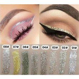 Wholesale Eye Shadow Gels - 8 Colors Women long lasting Waterproof Shining Liquid Eyeliner shiny glitter Gold Brighten Eye Shadow