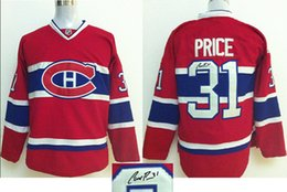 Wholesale Canadian Ice - Autographed Montreal Canadians 31 Carey Price Red Ice Hockey Jerseys 2014 Hot Playoffs Hockey Wears New Arrival Signed Hockey Uniforms