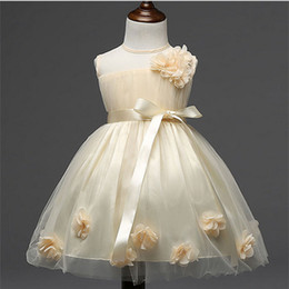 Wholesale Children S Tutu Party Dresses - Summer Girls Dress Children 's Clothing Flowers Through Yarn Party dress 2017 Fashion New Kids Flower Princess l Dresses