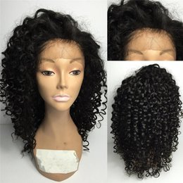 Wholesale Indian Remy Kinky Curly Wig - Pre plucked Kinky Curly Mongolian Remy Hair Natural Color 100% Human Hair For Black Woman With Baby Hair