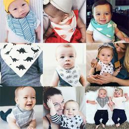 Wholesale Grey Black Animal Print Scarves - Free Shipping 4pcs lot Baby Bibs 2017 Pretty Burp Cloths Soft Kids Toddler Bibs Towel Bandanas Triangle Scarf Double Cotton Baby Bib