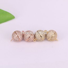Wholesale Magnetic Round Clasp - New 12mm Strong Loop Magnetic Clasp & Hook Round Bead Pave CZ Crystal Magnetic Clasp For Bracelet Necklace Making