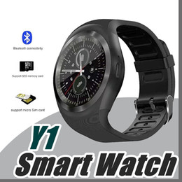 Wholesale Round Touch Screen Watches - 10X No.1 kid Y1 smart watches Latest Round Touch Screen Round Face Smartwatch Phone with SIM Card Slot smart watch for IOS Android J-BS