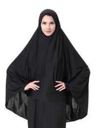 Voiles à tête noire en Ligne-Gros femme musulmane long voile arabie bonnets filles dame couleur noire tête bandanas