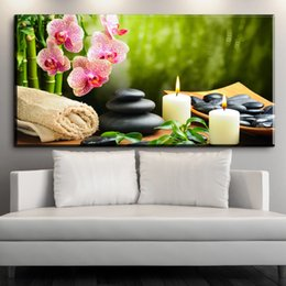 Wholesale Orchids Framed - ZZ1922 Butterfly Orchid Flower Zen Stones Wall Art Bamboo Picture Print on Canvas Modern Art Wall Modular Painting Without Frame