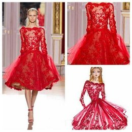 Wholesale Homecoming Dresses Zuhair Murad - Zuhair Murad Lace Prom Dresses Cocktail Dress Designer Short Red Long Sleeves Sheer Beads Knee Length Party Homecoming Dresses For Girls