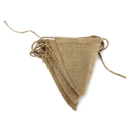 Wholesale Burlap Bunting - 15 Flags Vintage Jute Hessian Burlap Bunting Banner Wedding party Photography Props Decoration Banner